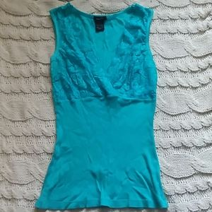 Teal green ribbed and lacy top tank top